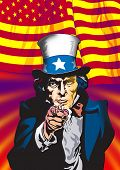 picture of uncle  - Uncle Sam in the classic I Want You pose - JPG