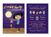 Zombie Party Invitation With Walking Dead Man In Graveyard. Halloween Event Advertising With Funny U poster