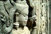 pic of asura  - Close up of sulptured apsara Siem Reap Cambodia - JPG