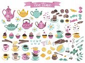 Tea Time Elements Collection. Hand Drawn Tea Vector Icons. Teapots, Cups, Cupcakes And Sweets Isolat poster