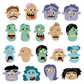 Funny Zombie Avatar Icon Set In Cartoon Style. Halloween Undead Sign, Horror Monster Heads Collectio poster
