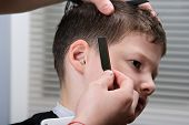 Hairdresser Adjusts Hair Style To Boy, Styling, Profession, poster