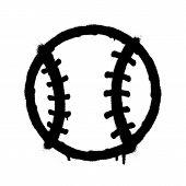 Sprayed Baseball Icon. Graffiti Overspray In Black Over White. Vector Graffiti Art Illustration. poster