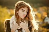 Autumn Sale. Woman With Long Hair And Natural Makeup. Fashion Model With Pretty Face. Girl On Autumn poster