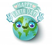 Vector Illustration Of A Planet Earth In Kawaii Style. Planet Earth With Peace Symbol. Happy Earth D poster