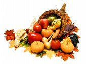 picture of cornucopia  - Harvest or Thanksgiving cornucopia filled with wide selection of vegetable over a white background - JPG