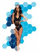 Young Sexy Slim Tanned Woman In Black Swimsuit Posing Against Blue Background. Fashion Portrait Of B poster