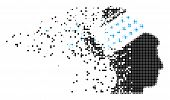 Dispersed Propaganda Brain Shower Dot Vector Icon With Wind Effect. Square Elements Are Composed Int poster