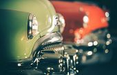 Classic Cars Auction. Row Of Retro Vehicles Set For Sale. Automotive Industry. poster