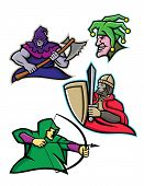 Mascot Icon Illustration Set Of A King Or Royal Medieval Court Persons Or Characters Like The Hooded poster