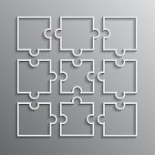 Nine White Puzzle Pieces Outline - Jigsaw. Vector Illustration Puzzle For Web Design. Vector Puzzle  poster