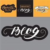 Hand Lettering Set. Expressions With The Word Blog For Poster, Card, Blog Or Personal Web Page poster