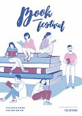 Poster, Flyer Or Invitation Template For Literary Festival With Young People Dressed In Trendy Cloth poster
