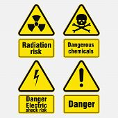 Warning Signs About Danger, Signs In Yellow Triangles, Danger Information, Attention, Vector Image poster