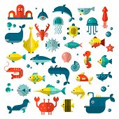 Set Of Vector Flat Sealife Elements, Plants And Sea Animals - Shark, Jellyfish, Octopus And Others.  poster