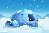 Illustration of an icy igloo