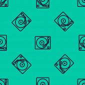 Blue Line Vinyl Player With A Vinyl Disk Icon Isolated Seamless Pattern On Green Background. Vector  poster