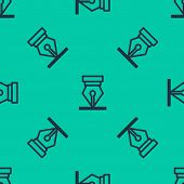 Blue Line Fountain Pen Nib Icon Isolated Seamless Pattern On Green Background. Pen Tool Sign. Vector poster