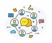 Social Media Blog. Virtual Communication Smartphone. Cooperation Interaction. Vector Illustration Ep poster