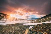 Aurlandsfjellet, Norway. Sunset Sky Above Road Aurlandsfjellet. Scenic Route Road In Summer Norwegia poster