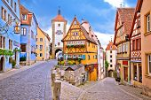 Cobbled Street And Architecture Of Historic Town Of Rothenburg Ob Der Tauber View, Romantic Road Of  poster