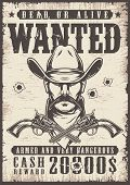 Vintage Wanted Wild West Poster With Man In Cowboy Hat And Crossed Guns In Monochrome Style Vector I poster