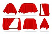 Red Silk Cover. Realistic Covered Objects With Cloth Draped Or Reveal Curtain, Red Napkin Or Tablecl poster
