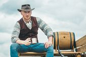 Handsome Bearded Macho Man. Men Beauty Standard. Example Of True Masculinity. Cowboy Wearing Hat. We poster