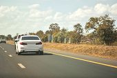 Car Driving On High Way Road poster