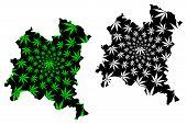 Boucle Du Mouhoun Region (regions Of Burkina Faso, Burkina Faso) Map Is Designed Cannabis Leaf Green poster