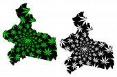 Centre-est Region (regions Of Burkina Faso, Burkina Faso) Map Is Designed Cannabis Leaf Green And Bl poster
