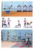 Set Of Sporty Young Woman Training At Gym. Flat Vector Illustrations Of Sportswoman Training With Tr poster