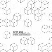 Abstract Background With Intersecting Geometric Cubic And Hexagon Shapes. Vector Pattern Of Cubes. T poster