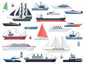 Sea Ships. Fishing Boat And Big Vessel For Ocean Travel On White Background Design Isolated Vector F poster