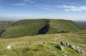 Nan Bield Pass, Harter Fell (778m), Gatescarth Pass & Branstree (713m Left) Viewed From Mardale Ill  poster