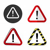 Attention Signs Collection. Caution, Alert Or Danger Symbols poster