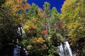 colorful Helen waterfall in autumn Georgia USA