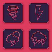 Set Line Tornado, Storm, Lightning Bolt And Storm. Blue Square Button. Vector poster
