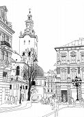Sketch Vector Illustration Of Lviv Historical Building