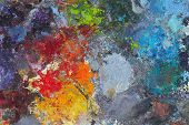 foto of paint palette  - Artists oil paints multi coloured close up semi abstract - JPG