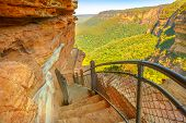 The Giant Stairway, A Spectacular Trail To Jamison Valley Descending More Than 800 Steps In Blue Mou poster