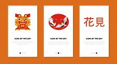 Chinese Culture Elements Flat Vector Icon Set. Dragon, Crane, Hieroglyphs Isolated Sign Pack. Asian  poster