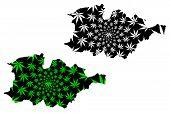 Hauts-bassins Region (regions Of Burkina Faso, Burkina Faso) Map Is Designed Cannabis Leaf Green And poster
