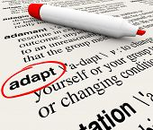 The word Adapt defined in a dictionary providing definition of change, adaptation and altering to su