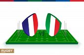 Rugby Team France Vs Italy On Green Rugby Field, France And Italy Team In Rugby Championship. poster