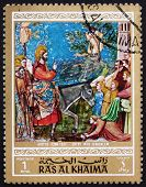 Postage stamp Ras al-Khaimah 1970 Entry into Jerusalem, Painting