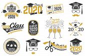 Set Of Vector Class Of 2020 Badges. Concept For Shirt, Print, Seal, Overlay Or Stamp, Greeting, Invi poster