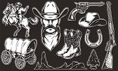 Vintage Monochrome Wild West Elements Collection With Old Cart Horseshoe Cowboy Head Boots Hat Weapo poster