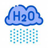 Raining Cloud H2o Rain Vector Thin Line Sign Icon. Rain, Eco Nature Water Treatment Linear Pictogram poster
