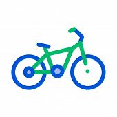 Public Transport Bicycle Vector Thin Line Icon. Healthy Ecology Care Bicycle, Urban Passenger Transp poster